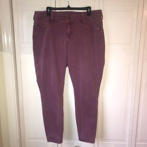Torrid 3 Button Fly Purple Skinny Jeans, size 20R